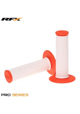 RFX Pro Series Dual Compound Grips White Centre (White/Orange) Pair