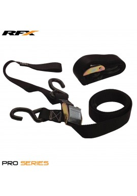 RFX Race Series 1.0 Tie Downs (Grey/Black) with extra loop & carabiner clip