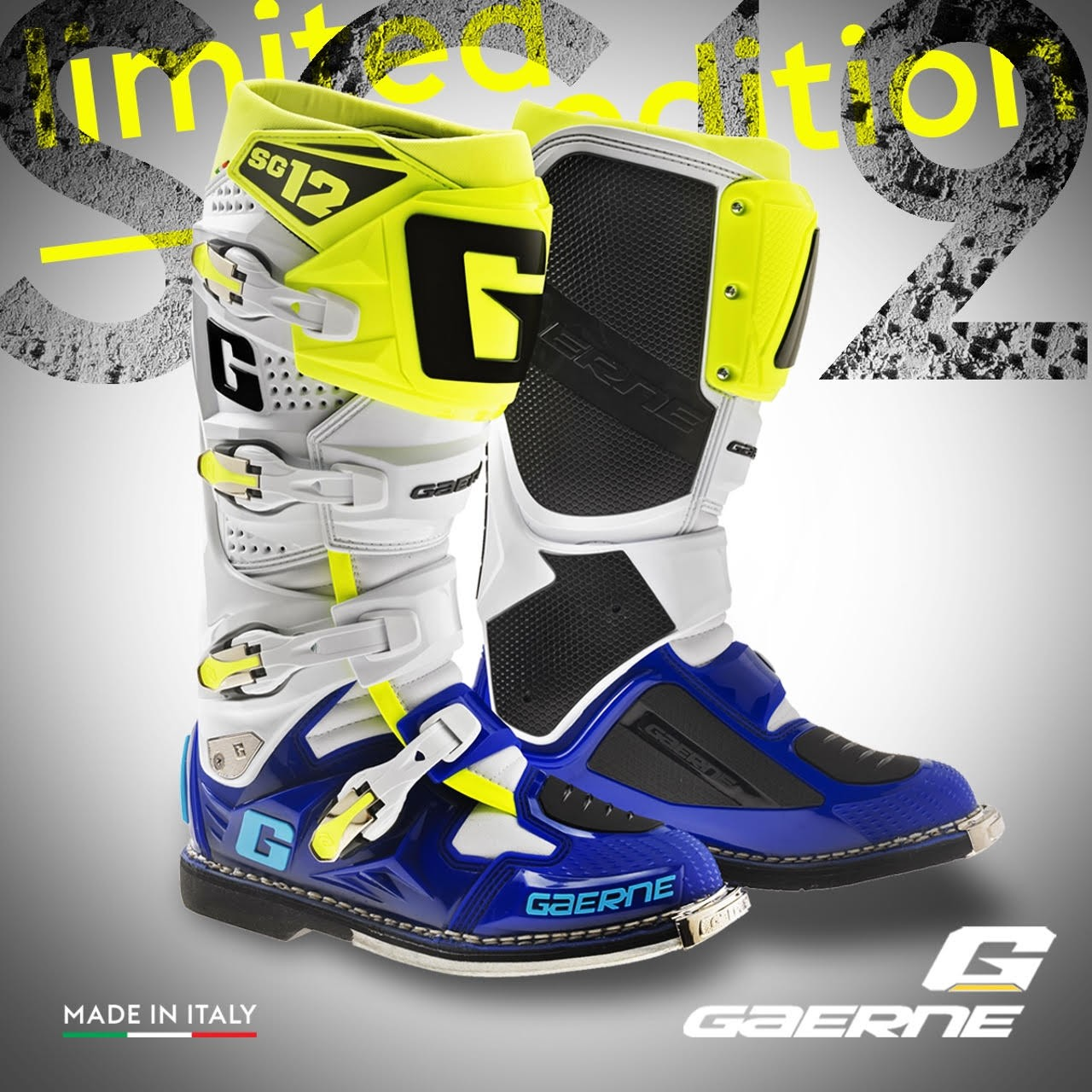2016 Gaerne Limited Edition Sg12 Motocross Boots Blue White