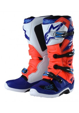 2017 Alpinestars Tech 7 Troy Lee Designs Red Flow/Blue/White Motocross Boots