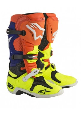 Alpinestars Tech 10 Motocross Boots Orange Flo/Blue/White/Yellow Flo