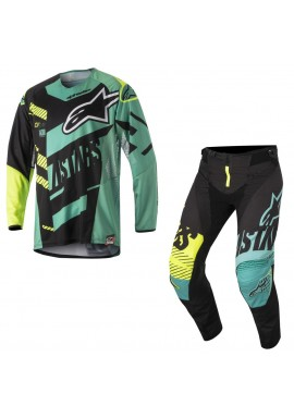 2018 Alpinestars Techstar Screamer Motocross Kit Black/Teal/Yellow Flo