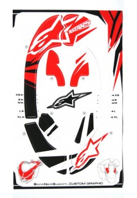 Alpinestars Bionic Neck Support Decal Kit Red Black