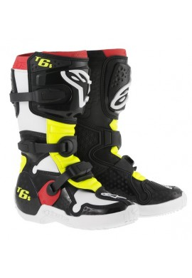 Alpinestars Tech 6S Youth Boots Black Red Flo Yellow