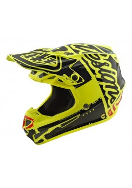 2018 Troy Lee Designs SE4 Polacrylite Factory Yellow Motocross Helmet