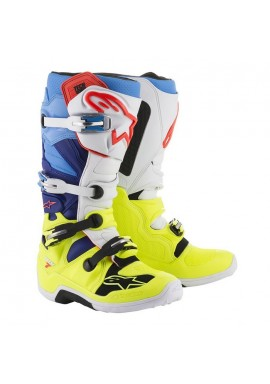 2017 Alpinestars Tech 7 Boots Yellow Flo White Blue Cyan