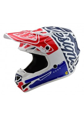 2019 Troy Lee Designs SE4 Polacrylite Factory White/Blue Motocross Helmet