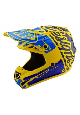 2019 Troy Lee Designs SE4 Polacrylite Factory Yellow/blue Motocross Helmet