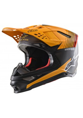 2020 Alpinestars Supertech M10 Motocross Helmet - Black Carbon Orange Matt