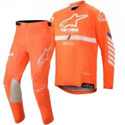 2020 Alpinestars Kids Racer Tech Flo Orange White Blue Motocross Kit
