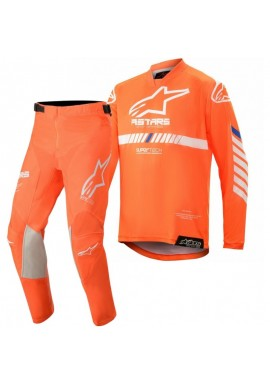 2020 Alpinestars Kids Racer Tech Flo Orange White Blue Motocross Kit