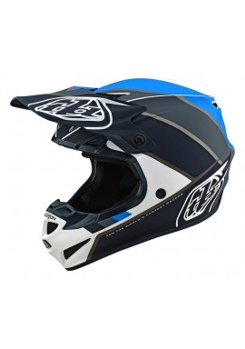 2019 Troy Lee Designs SE4 Polacrylite Beta White/grey/blue Motocross Helmet
