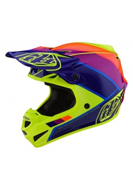 2019 Troy Lee Designs SE4 Polacrylite Beta Yellow/purple Motocross Helmet