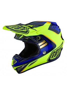 TROY LEE DESIGNS 2020 SE4 COMPOSITE HELMET FLASH YELLOW/BLUE